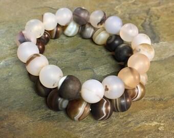 Matte agate stretch bracelets