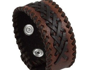 Unique leather wrist band, Brown threaded leather bracelet with threads of leather plaited along its length as embellishment and sewn edges