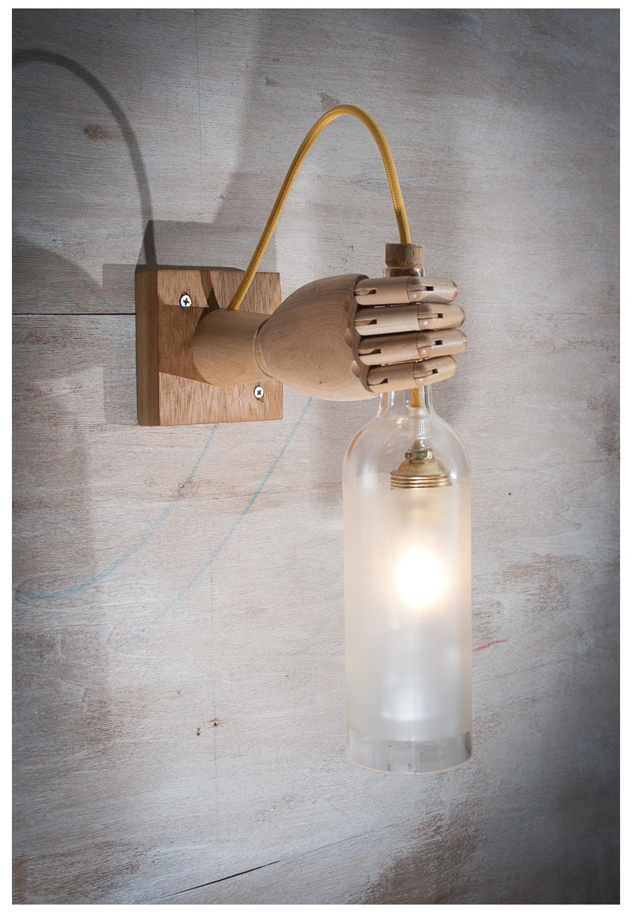 Recycled wine bottle wall sconce wood lamp wall light for Recycled wall