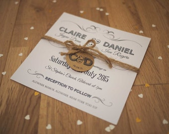 Modern personalised wedding day invitation & RSVP set with tag and twine SAMPLE