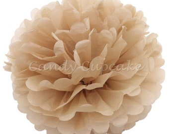 6inch/15CM TAN / 15cm tissue paper pom pom / wedding decorations / diy / birthday party decorations / tan beige decorations / blue pompoms