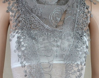 Gray bud silk scarf triangle, stereoscopic embroidery lace fringe scarf, shawl