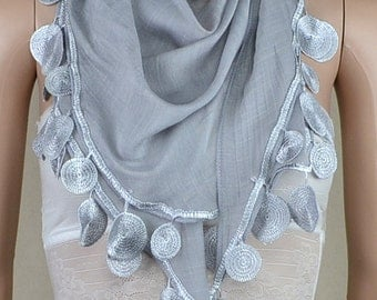 Gray triangle cotton scarf, irregular lace scarf, spring, autumn decoration scarf