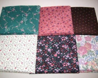 6 fat quarters,100% cotton,vitage fabric coordinated in shades of brown,green,rose,ecru,floral.