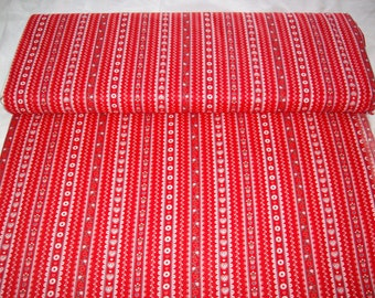 VIP vintage fabric,red w/ white hearts and lace, stripe design,by yard,100% cotton