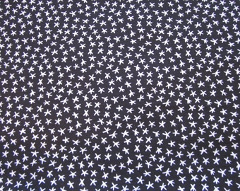 """Hampton Print Works knit fabric,black w/ white stars, suitable for clothing, 60"""" wide x 1yd. +32"""""""