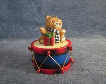 5 lot , Bear on drum Christmas ornament,vintage
