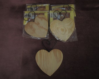 """5 wood heart cut outs w/ wire heart on top, 4"""" ,tole painting,folk art,ornament"""