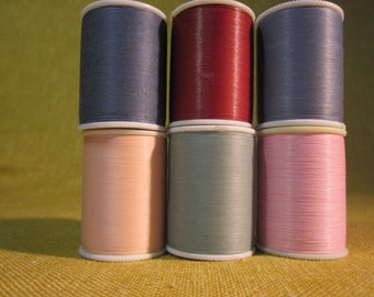 6 spools J&P Coats extra strong hand quilting thread,dark grey,grey,pink,peach,rust red,celedon green,250 yards each
