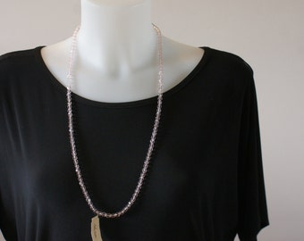 """Vintage 70s/80s Pink Clear Glass Sparkly Bead Necklace 30"""" Opera Length NWT"""
