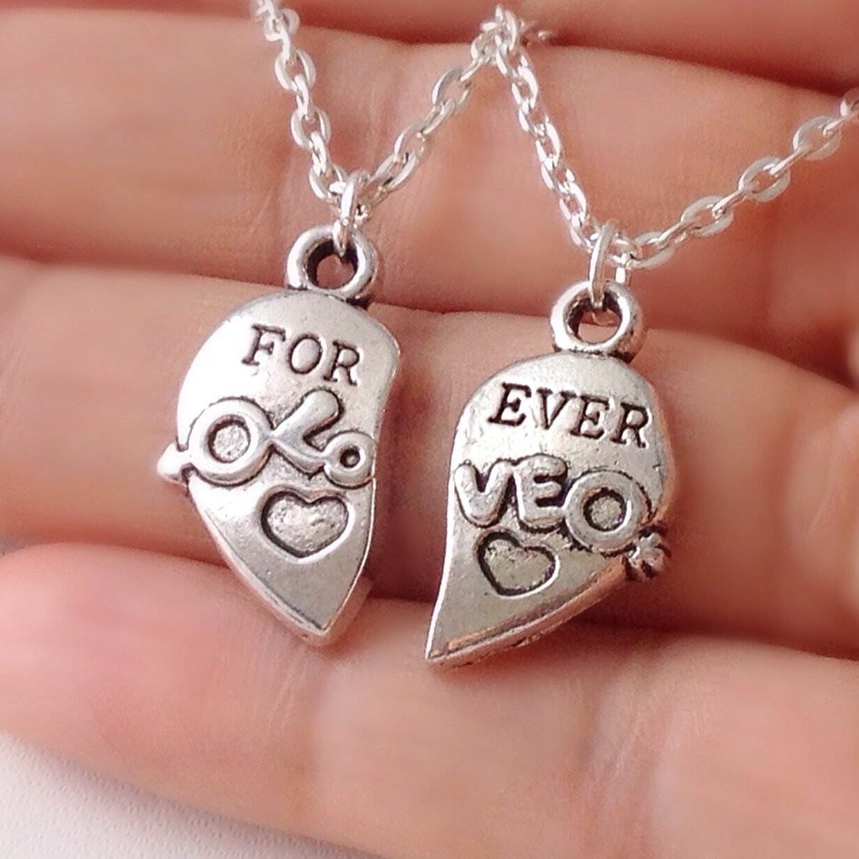Set of Two Forever Love Half Heart Necklace couples jewelry