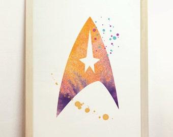 Star Trek Fleet Watercolor Print Spock Space Scifi Starship Enterprise Geekery Nerd Kirk Art Space Orange Purple 8x10 A4 8.3 x 11.7 in - N47