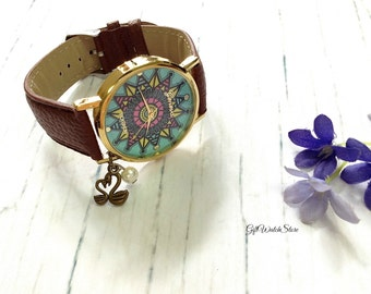 "Retro Leather Watch, Leather Wrap Watch, Leather Bracelet Watch, Wrist Watch, Brown Compass Leather Watch ""swan"" charm"
