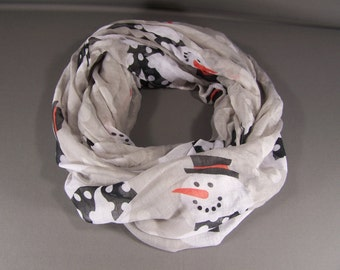 Grey Snowman scarf lightweight gauzy infinity long circle loop cowl Christmas