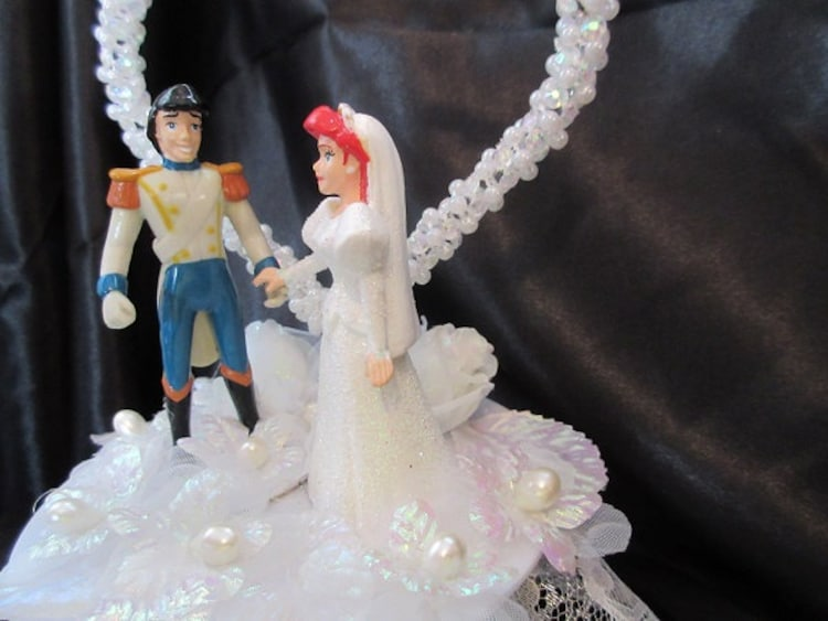 ariel and prince eric wedding cake topper by uniqueweddincreation. Black Bedroom Furniture Sets. Home Design Ideas