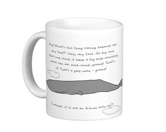 Whale and Petunias Mug. Inspired by Hitchhiker's Guide to the Galaxy.