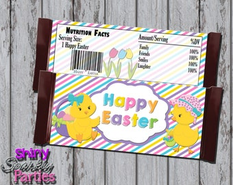 Printable EASTER CANDY BAR Wrappers - Easter Chick Candy Bar Labels - Happy Easter Candy Wrappers - Diy Easter Gifts - Printable Easter