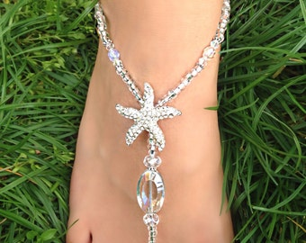 Wedding / Beach Crystal Barefoot Sandals / Foot Jewelry  ~ Glamour