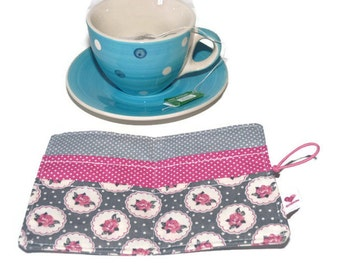 Gray Tea Wallet / Tea Carrier / Fabric Tea Wallet / TeaBag Holder / Travel Tea Bag / Tea Organizer / Travel Tea Wallet / Teabag wallet