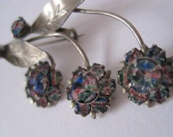 Striped Iris rainbow glass rhinestone diamante art deco style 1950s brooch in a flower design
