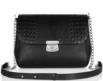 Leather Cross body Bag, Black Leather Shoulder Bag, Women's Leather Crossbody Bag, Leather bag KF-034