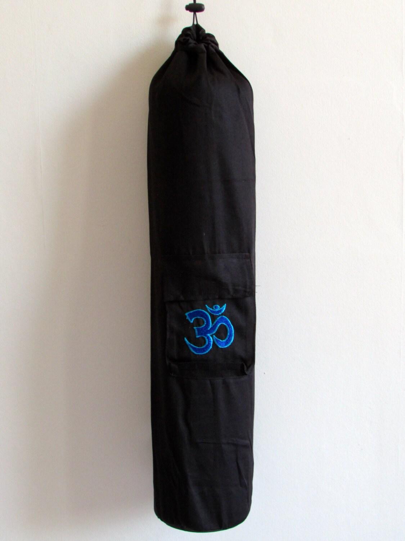 Yoga Mat Bag Black Pilates Mat Bag Cotton Turquoise Blue Om