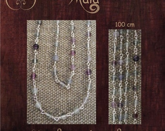 Silver and Fluorite Mala Necklace