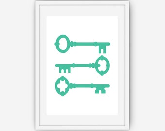 Teal Key Print, Teal Wall Art, Teal Keys, Key Print, Key Art, Teal Key Print, Wall Art, Printable, Instant Download
