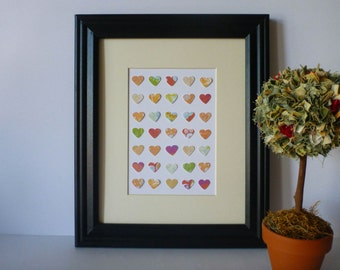 "Paper Heart Wall Art - Colourful Palette,  8"" x 10"""