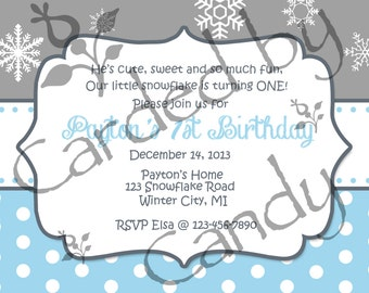 1st Birthday Party Snowflakes Invitation