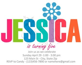 Colorful Birthday Party Invitation 5x7