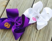 Large Monogrammed Hairbow, boutique bow, 2.25""