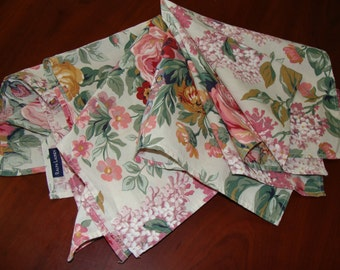 Three Ralph Lauren Napkins with Cabbage Roses, Shabby Chic
