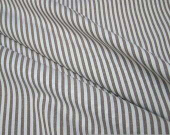 Fabric pure cotton roman's stripe brown white 2,5 mm small stripe