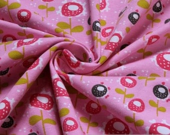 Fabric cotton elastane single jersey pink little flower elastic