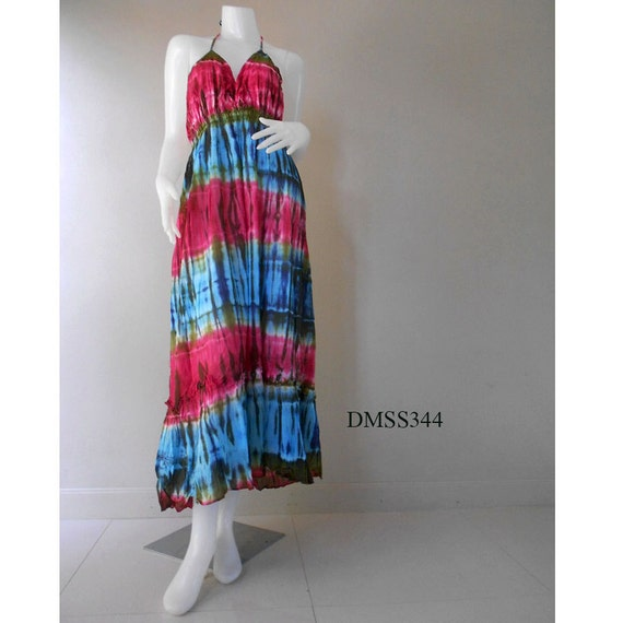 Boho Hippioe Tie dye Cotton Halter dress, Womens Dress, Summer dress (DMSS 344)