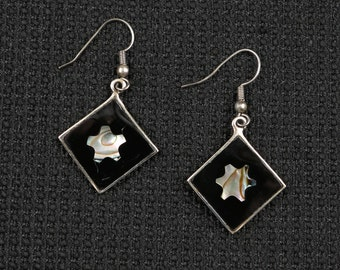 Early 1990's Alpaca Silver, Black, and Abalone Square Loop Earrings, The 'Silver' Outlines Black Background w Star Abalone Star Insert.