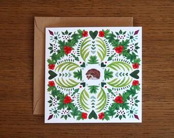 Woodland Hedgehog. Square blank greetings card.