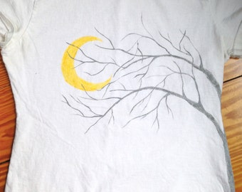 Hand Painted T-shirt, Side Tree design