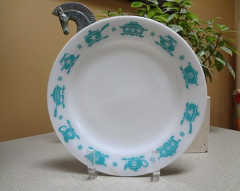 Hazel Atlas Dinner Plate - Turquoise Kitchen Aids Pattern HTF (Reduced)