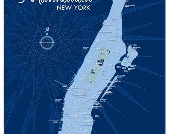 Manhattan Map Print (Blue)