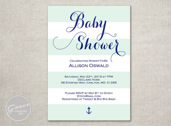 stripes nautical baby shower invite navy blue calligraphy style font