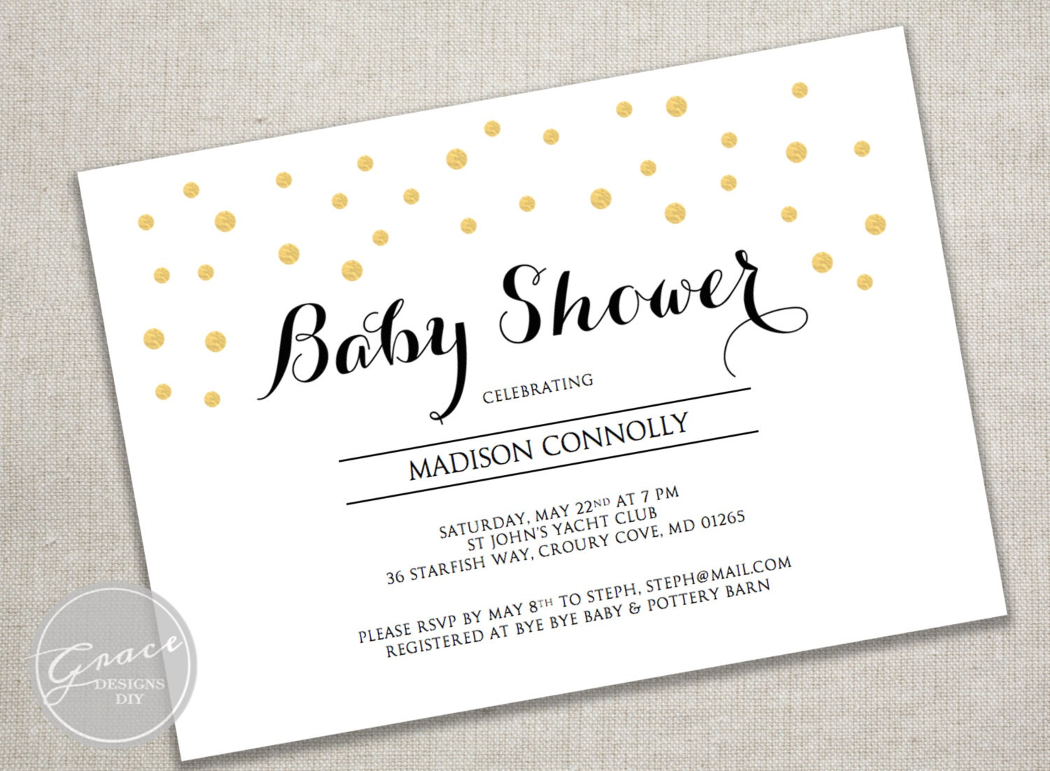 printable baby shower invite black calligraphy style font