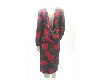 Avante Garde Dress, Backless Silk Drop Waist 1980's Designer Dress