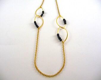 Elnath - Black golden chain necklace