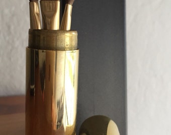 Vintage Neiman Marcus 3 Mini Travel Makeup Brushes in Round Gold Tone Brass Case