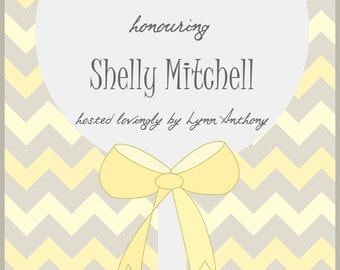 Yellow, Mellow and Grey Rattle Baby Shower Digital Invitation