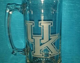 University of Kentucky Sand Carved Glass Mug