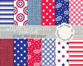 SALE! Fourth of July Digital Paper- 4th of JULY PICNIC- Stars and stripes paper red blue white flags gingham burlap bandana picnic patterns