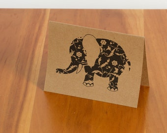 FREE SHIPPING!! Decorative Elephant Handmade Card